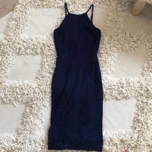 Blue fitted, open back dress- Lulus XS